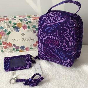 ⬇️Vera Bradley Lunch bag & zip ID Paisley Amethyst